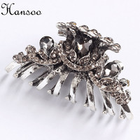 Hansoo 5.5cm hair accessory women Silver color hair claws Crystal women,s hairpin girls hair clips BiBe Hairbands fashion bands