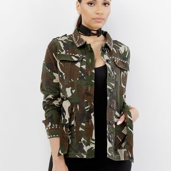 FULL METAL STUDDED CAMO JACKET