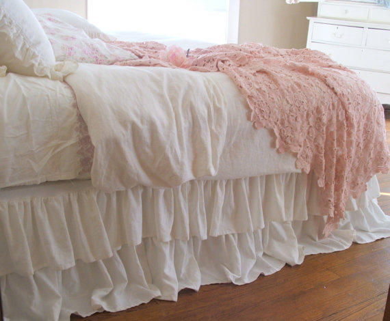 Shabby Chic Bedding Romantic Tiered From Tickingandtoile