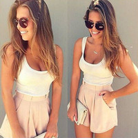 women 2016 Summer 2 Pieces Clothes Set Women Short Sleeve Shorts and Crop Tops Casual Outfits