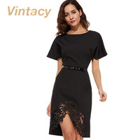 Vintacy 2017 Plus Size 3xl office dress black bodycon women dress spring patchwork summer dress short party women dresses lace