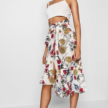 Imogen Woven Floral Ruffle Belted Midi SKirt | Boohoo