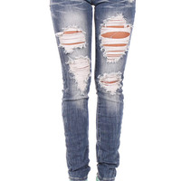 Shredded Design Skinny Jeans