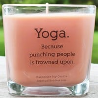 Yoga Because Punching People Is Frowned Upon Scented Jar Candle, Funny Yoga Candle