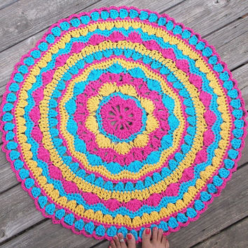 "Turquoise, Gold and Hot Pink Cotton Crochet Doily Rug 30"" Round READY TO SHIP"
