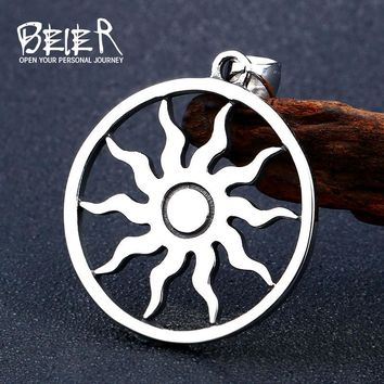 316L Stainless Steel Norse Vikings Pendant Necklace Sun Amulet Pagan Solar Slavic Wheel