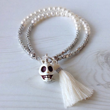 White pearl double strand bracelet sugar skull charm day of the dead wedding bridal jewelry