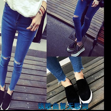 New arrival Womens fashion casual high waist  knee hole ripped skinny jeans dark blue pencil pants