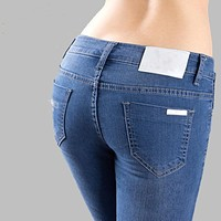 Women Jeans Plus Size26-34 New Brand Fashion Blue Elastic Jeans Woman Pantalon Femme Sexy Skinny Jeans Trousers for Women KZ058