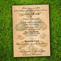 Wedding Invitation and RSVP Card Suite - Vintage Sea Shells Beach Customizable Double Sided Print