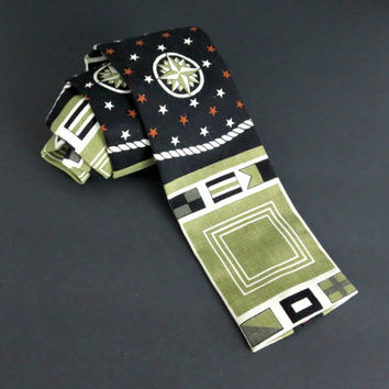 Vintage Rooster Ties - Square End Tie - Nautical Necktiee - Gold and Black - Cotton Necktie