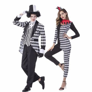 Umorden Carnival Party Halloween Magician Costumes Men Mad Hatter Costume Women Circus Clown Cosplay Fancy Dress Jumpsuit Couple