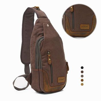 Retro Casual Canvas Chest Bag Patchwork Genuine Leather Sling Bag Crossbody Bag For Men