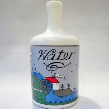 Vintage WATER Jug White Glass Bottle 72oz 1980s