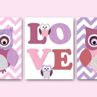 Owl Decor Owls Nursery Baby Nursery Art Decor Kids Wall Art Baby Girl Nursery Print Baby Room Decor Kids Art Girl Print set of 3 8x10 Violet