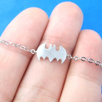 Bat Shaped Silhouette Symbol Batman Logo Charm Bracelet in Silver | DOTOLY