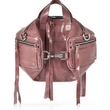 McQ Alexander McQueen Dirty Pink Waxed Leather Mini Convertible Holdall