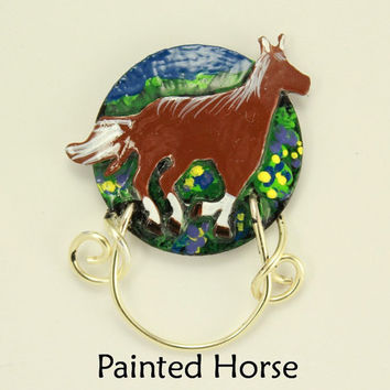 Engraved and Painted Horse Magnetic Eyeglass Holders