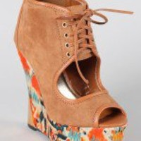 Liliana Sanders-6 Lace Up Watercolor Wedge Bootie