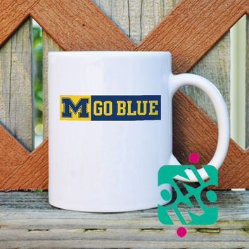 Michigan Go Blue Coffee Mug, Ceramic Mug, Unique Coffee Mug Gift Coffee