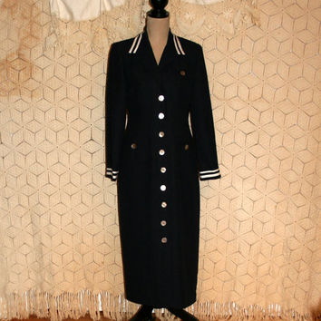 80s Vintage Dress Navy Blue Nautical Sailor Dress Edwardian Dress Long Sleeve Dress Button Up Day Dress Jessica Howard Medium Women Clothing