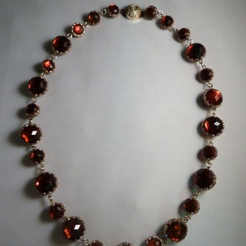 Vintage amber lucite silver filigree beaded faceted beads necklace West Germany German costume jewelry