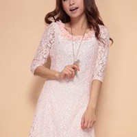 Pink Flower Collar Lace Dress S010491
