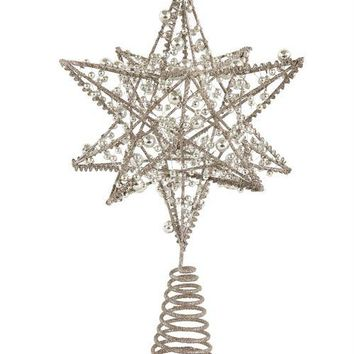 "7-1/4"" Rnd x 11-3/4""H Wire Star Tree Topper, Silver"
