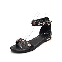 Genuine Leather Flat Sandals for Women 6399