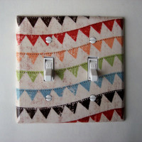 Colorful Bunting Double Toggle Switch Plate, wall decor