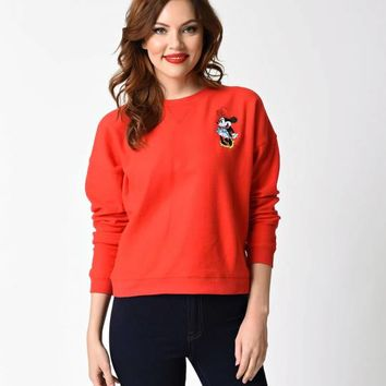 Red Minnie Mouse Long Sleeve Classic Disney Crew Sweater
