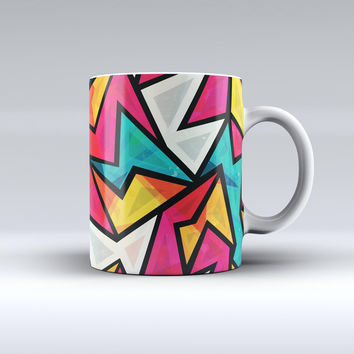 The Retro Vector Sharp Shapes ink-Fuzed Ceramic Coffee Mug