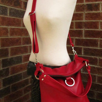 Red Leather Fold Over Bag - Travel everyday bag