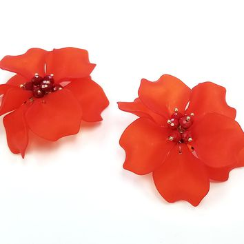 The Nahmu Red Flower Statement Earrings