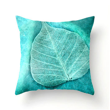 Skeletal Leaf decorative throw pillow, turquoise teal aqua accent cushion turquoise pillow covers turquoise cushion covers home spring decor