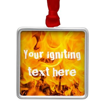 Fire and flames customizable metal ornament