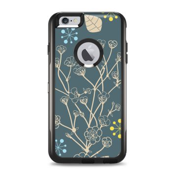 The Slate Blue and Coral Floral Sketched Lace Patterns v21 Apple iPhone 6 Plus Otterbox Commuter Case Skin Set