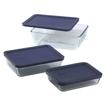 Pyrex® 6004023 Glass Food Storage Set with Plastic Lids, 6-Piece