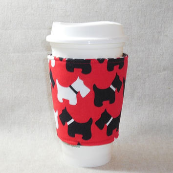 Cute Red and Black Scottie Dog Themed Slide-On Coffee Cozy
