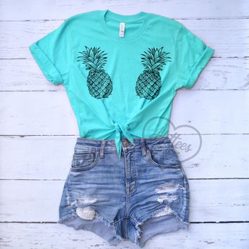 Pineapple Crop Top Knotted Shirt