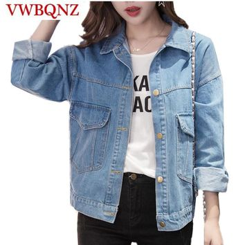 Trendy Women Basic Coats Spring And Autumn Short Women Denim Jacket Vintage Long Sleeve Loose Female Jeans Coat Casual Girls Outwear AT_94_13