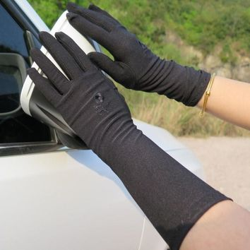 spring and autumn women's summer embroidered gloves female medium-long thin elastic etiquette gloves driving gloves