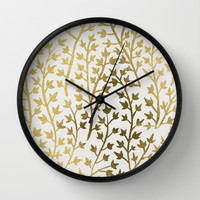 Gold Ivy Wall Clock by Cat Coquillette