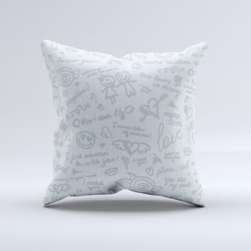 Love Story Doodle Sketch ink-Fuzed Decorative Throw Pillow