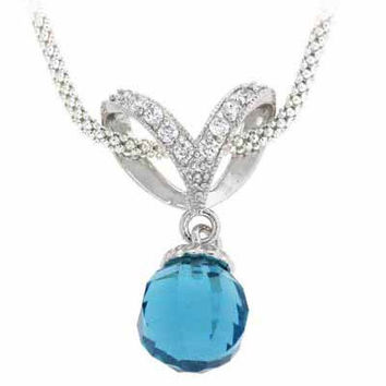 Sterling Silver Briolette Aquamarine CZ Ball Drop Pendant