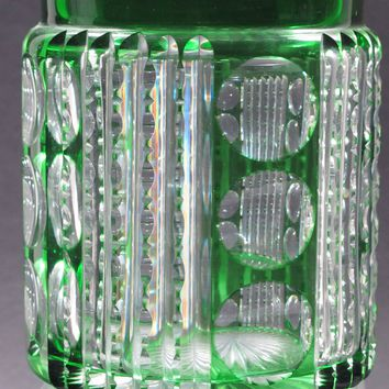 Dorflinger JAR / Humidor green cased glass cut to clear NO LID