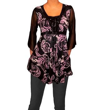 Funfash Plus Size Corset Style Black Purple Womens Top Shirt Blouse