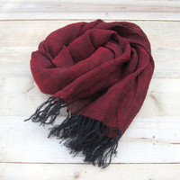 Burgundy linen scarf, scarf with knot fringe, linen scarves, scarf linen, linen shawl, pure linen scarf, women scarf, men scarf