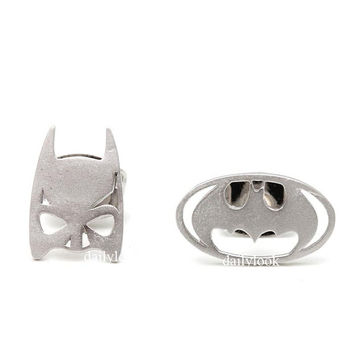 batman studs, batman earrings, halloween jewelry, batman, superhero, man studs, bird studs, unique earrings, unique studs, batman mask