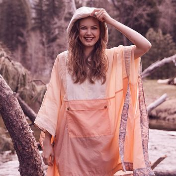 Free People Colorblocked Nylon Poncho